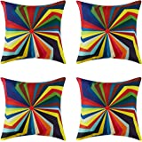 Topfinel Colorful Geometric Cushion Cover Cotton Linen Home Decorative Square for Sofa Throw Pillow Case 18 x 18 Inch, 45cm x 45cm Pop Art Stlye Umbrella 4 Pack