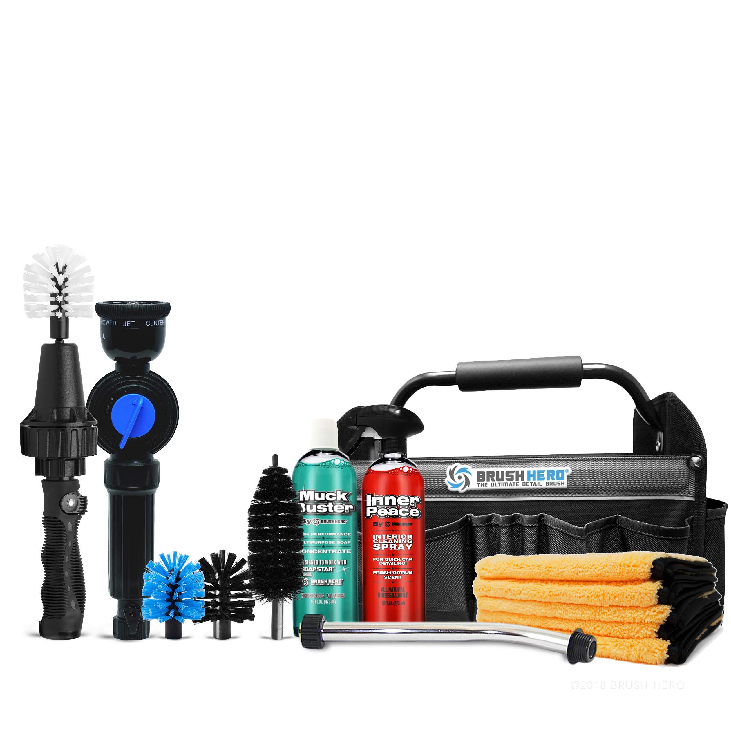 Brush Hero Master Set Includes Brush Hero Starter, Soap Star, 3 Extra Brushes, Soap, Interior Spray, Extension Wand, Microfiber, Utility Bag by Brush Hero (Image #1)