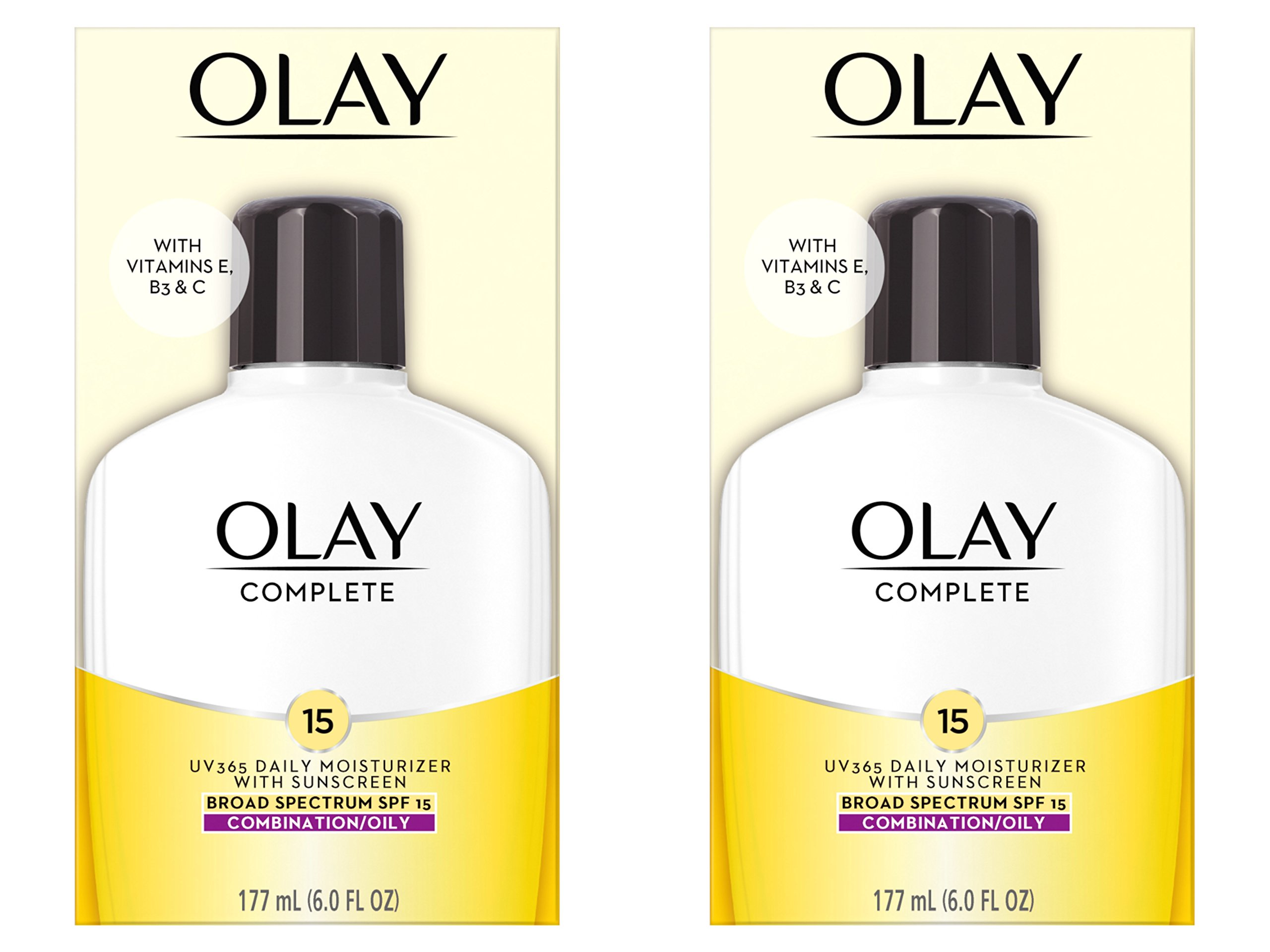 Olay Complete Lotion All Day Face Moisturizer for Combination/Oily Skin with SPF 15, 6 Fl Oz (Pack of 2)