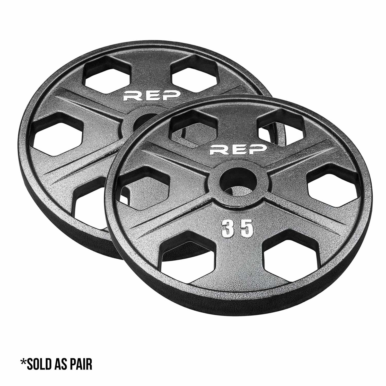 Rep Fitness Rep Gray Equalizer Iron Olympic Plates, 35 lb Pair
