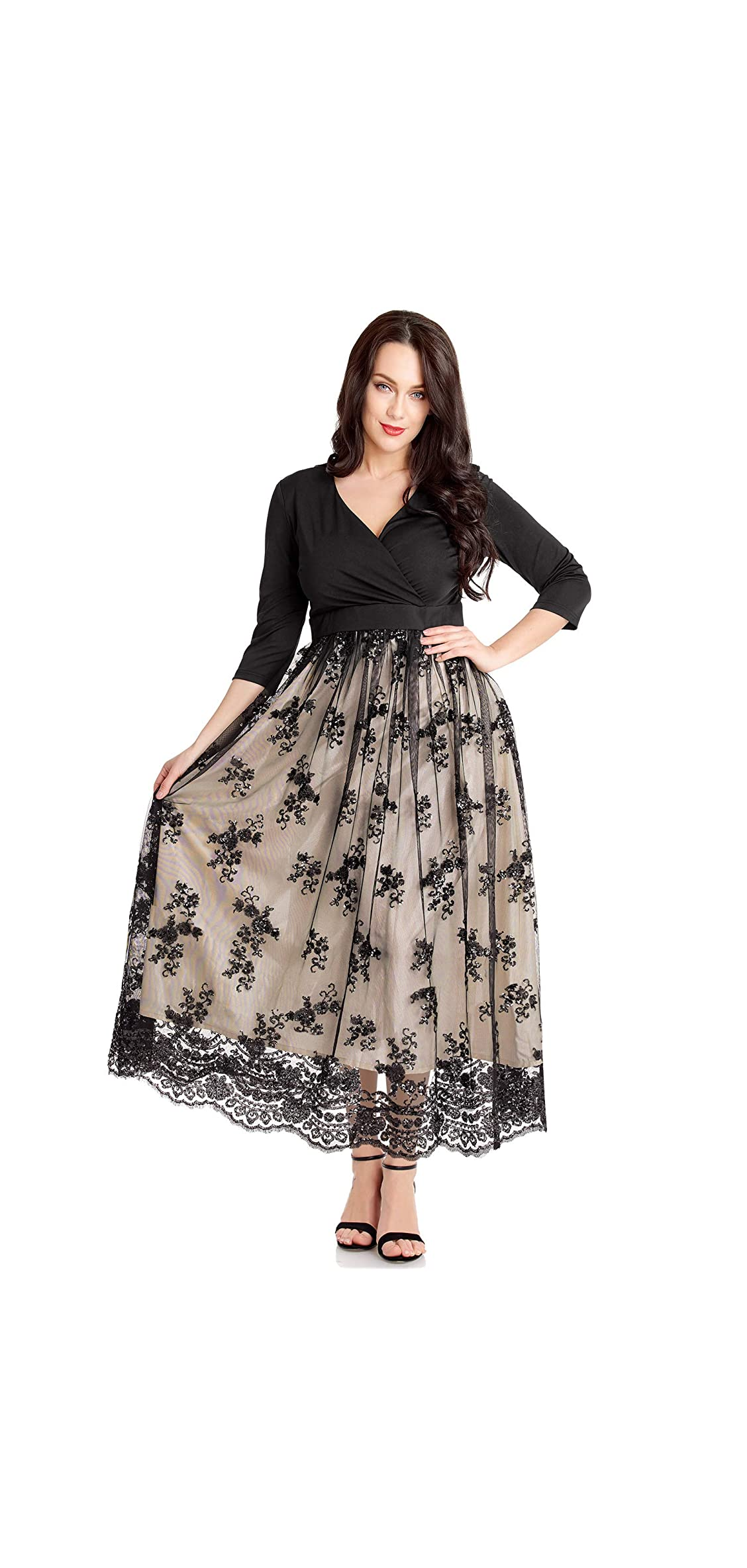 Women's Plus Size Sequin / Sleeves Evening Gown Party