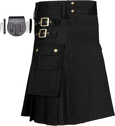 Good Quality 100/% Cotton Men/'s Brand New Black Cotton Utility Kilt