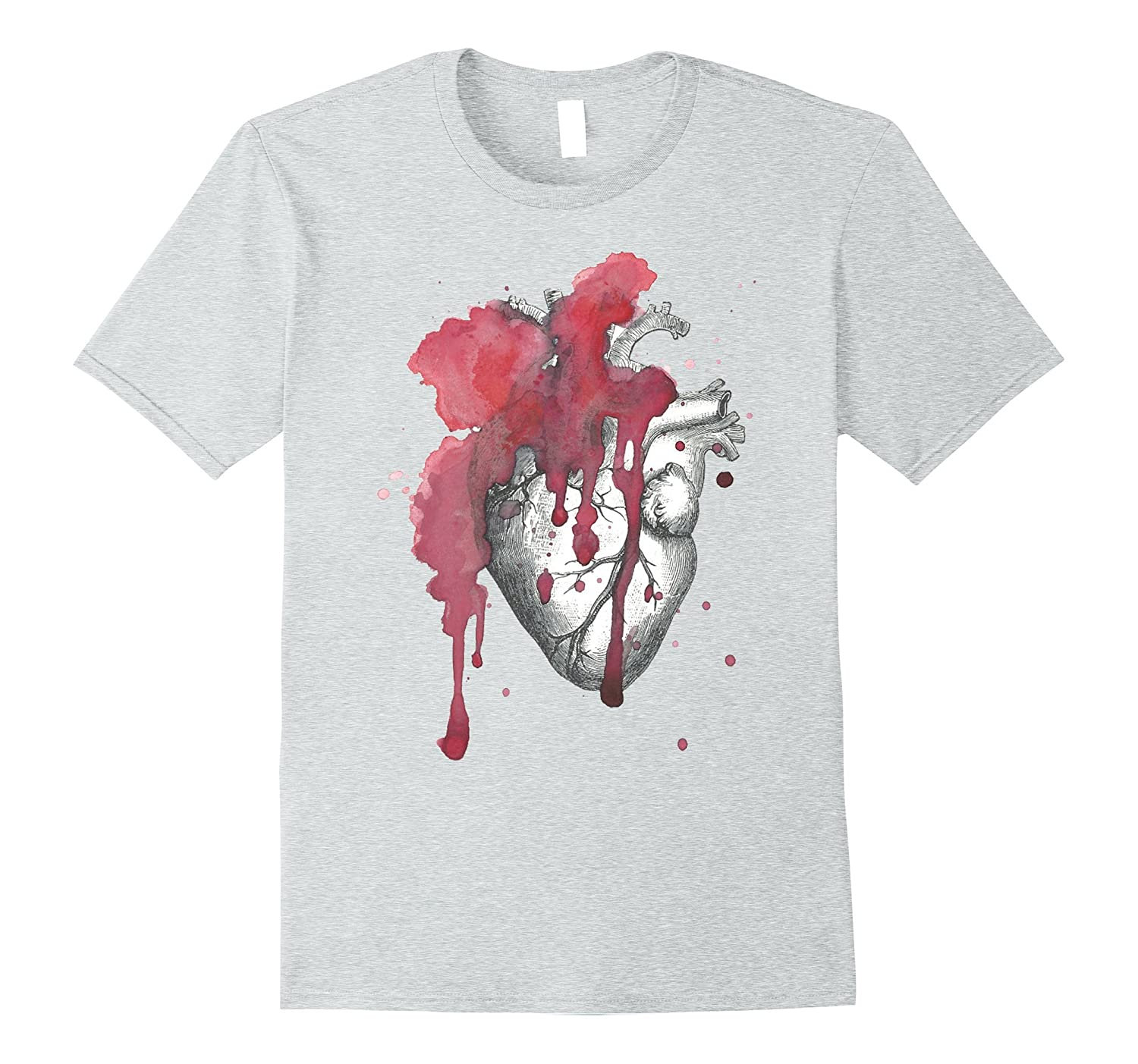 Vintage Anatomical Heart Watercolor T-Shirt-TH