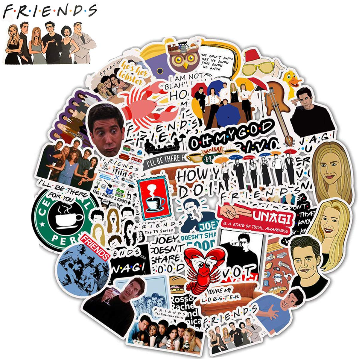 WOCOCO Friends Stickers for Laptop, 50 Pack Friends TV Show Theme Stickers, Waterproof Vinyl Stickers for Water Bottles, HydroFlask