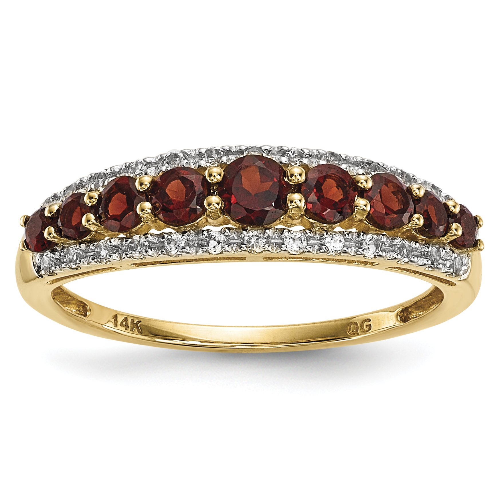 ICE CARATS 14k Yellow Gold Mozambique Red Garnet White Topaz Band Ring Size 7.00 Gemstone Fine Jewelry Gift Set For Women Heart