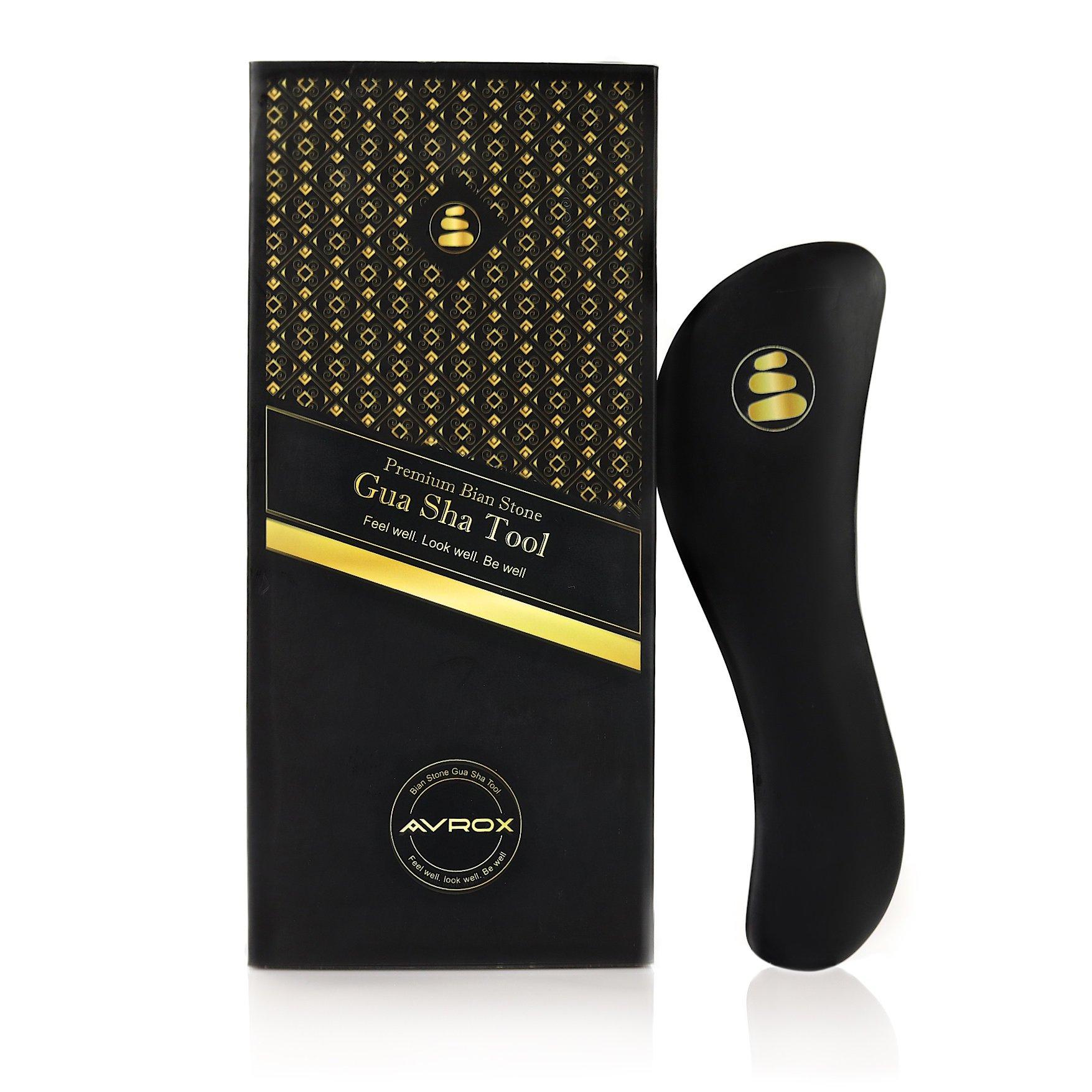 AVROX 7'' Bian Stone Gua Sha Tool: IASTM Tool/Graston Tools for Myofascial Release| Heavy, Easy Grip Stone Guasha Board Facial Massager/Neck, Back & Leg Pain Relief Tool| Top Gifting Idea