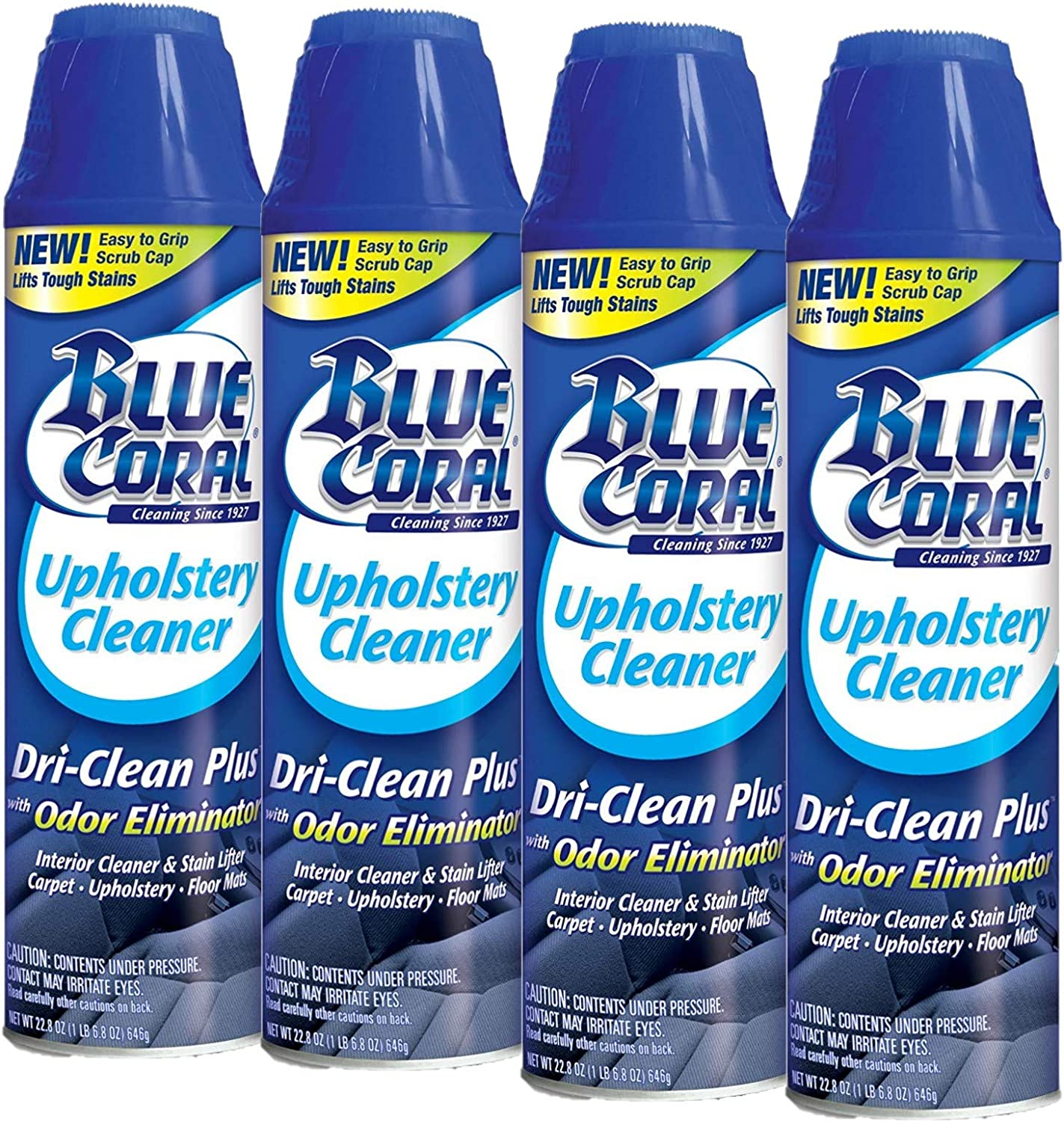 Blue Coral DC22 Upholstery Cleaner Dri-Clean Plus with Odor Eliminator, 22.8 oz. Aerosol, Pack of 4