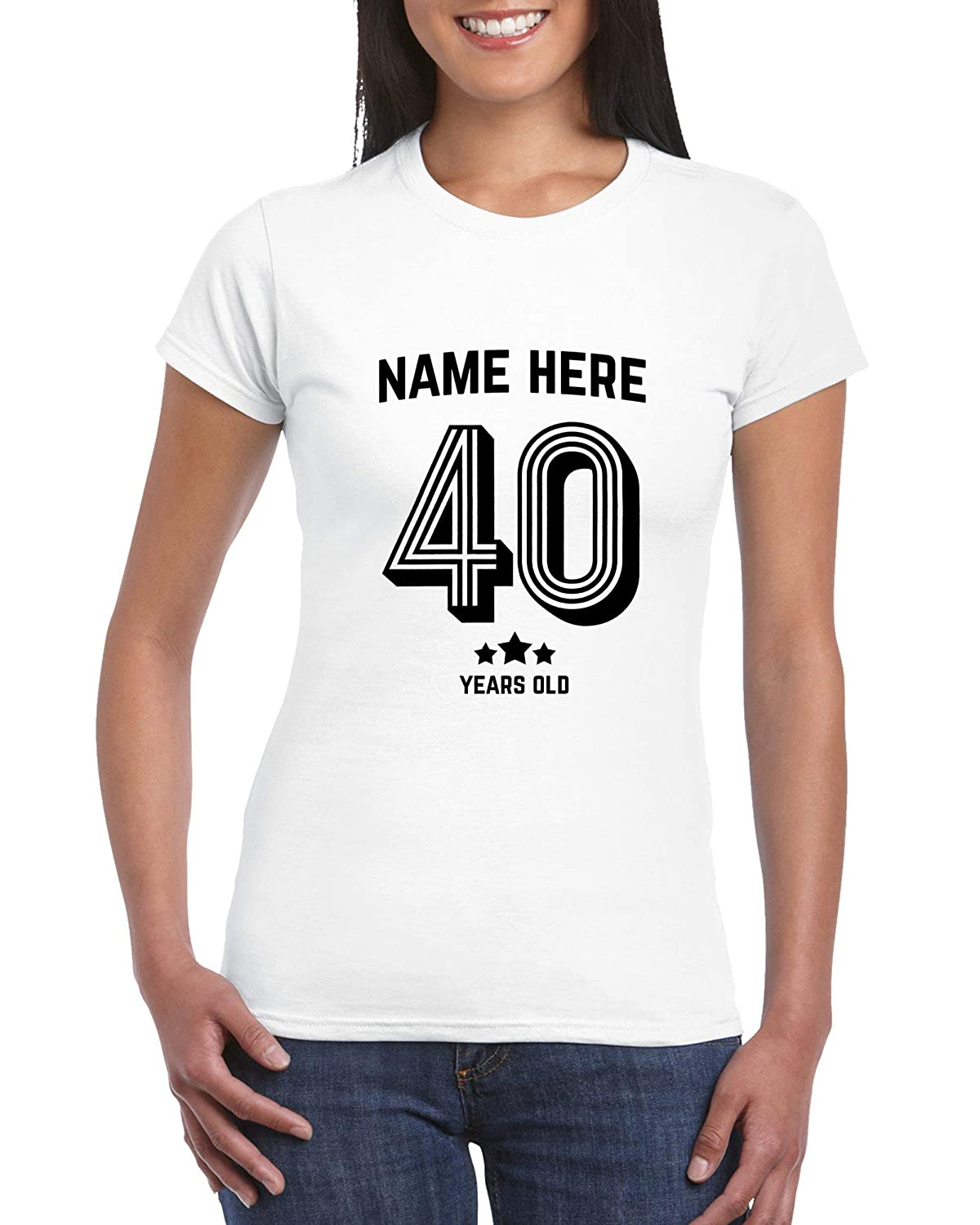 Add Name Football Number Style T-Shirt Age 40 Personalised Gift for Females 40th Birthday T Shirt for Women