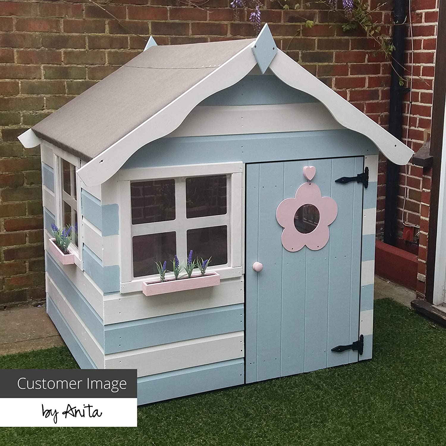 3-5 Day Delivery Felt and Floor 1878 4x4 Wooden Garden Playhouse for kids Safety Styrene Windows WALTONS EST Shiplap Construction 4 x 4 // 4Ft x 4Ft dip treated with 10 year Anti Rot Guarantee Includes Apex Roof