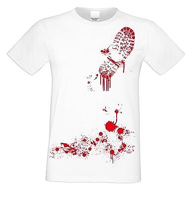 Grusel T-Shirt Herren Fun-Motiv Blutiger Schuhabdruck Geschenkidee  Geburtstagsgeschenk Hexen Gespenster Geister Farbe: weiss: Amazon.de:  Bekleidung