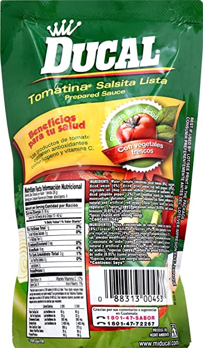 Amazon.com : Ducal Tomatina Ranchera Pouch, 8 Ounce (Pack of 24) : Grocery & Gourmet Food