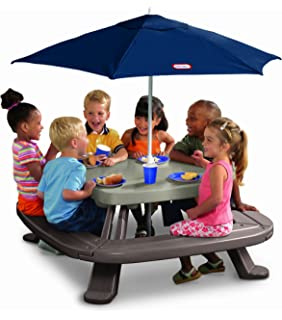 Amazon step2 sit and play kids picnic table with umbrella toys little tikes fold n store table with market umbrella watchthetrailerfo