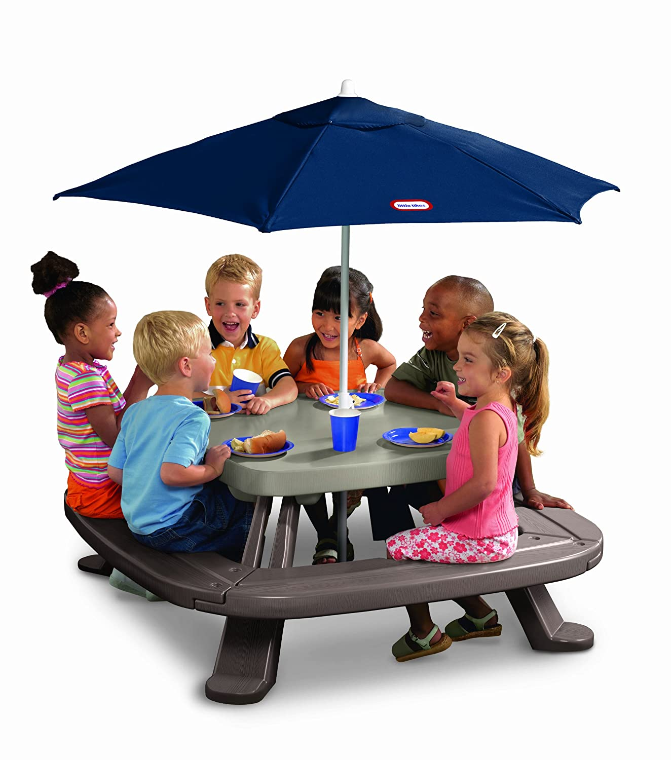 Amazon.com: Little Tikes Fold \'n Store Table with Market Umbrella ...