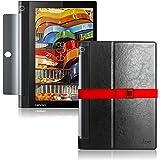 LOE Lenovo YOGA Tab 3 10 タブレット ケース 保護フィルム付 ZA0H0027JP/ZA0J0005JP用 (ブラック)