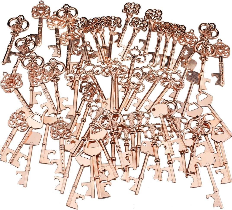 Key Bottle Openers – Assorted Vintage Skeleton Keys, Wedding Party Favors Pack of 70, Rose Gold
