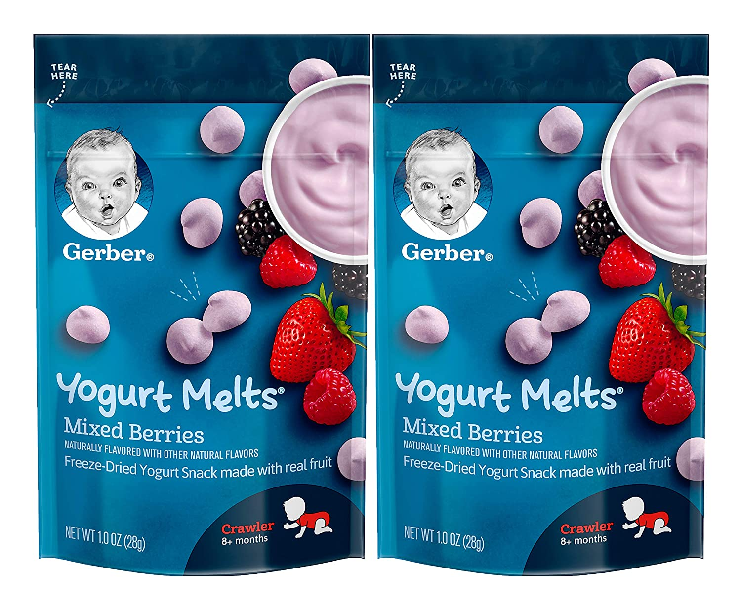 Gerber Yogurt Melts, Mixed Berries, 1 OZ (Pack of 2)