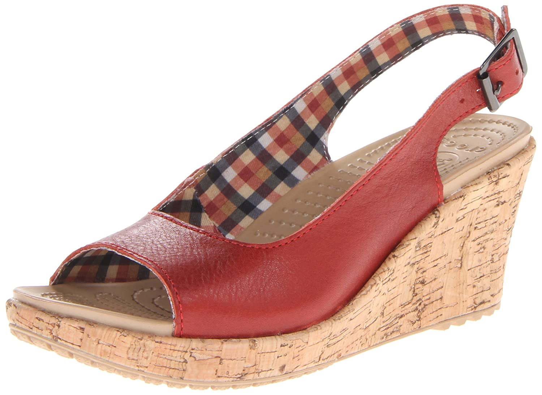 Amazon.com | Crocs Women's A-Leigh Wedge Sandal, Scarlet, 11 M US |  Platforms & Wedges