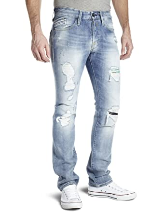 Replay Waitom Slim Men s Jeans Vintage Rip And Repair Wash 38W x 34L ... 2c6706d012a