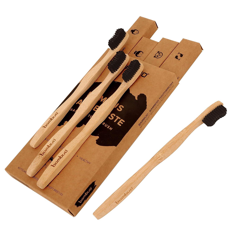 Juego de 4 Bambú Cepillo de dientes · Madera Cepillos de Dientes de bambú · 100% sin de BPA y totalmente Vegano · Medio cerdas suaves de carbón activo ...