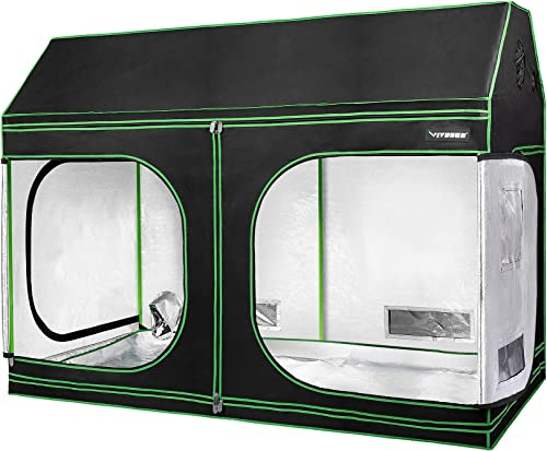 VIVOSUN 96 x48 x72 Indoor Grow Tent, Roof Cube Tent with Observation Window and Floor Tray for Plant Growing