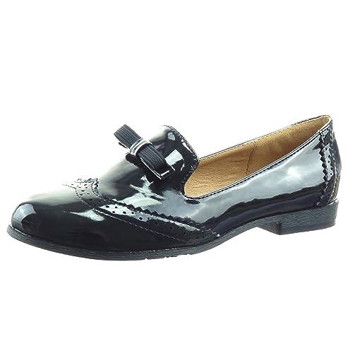 Sopily - Zapatillas de Moda Mocasines Bailarinas Tobillo Mujer Perforado Nodo Patentes Talón Tacón Ancho 2 CM - Negro WLD-8-B19 T 37: Amazon.es: Zapatos y ...