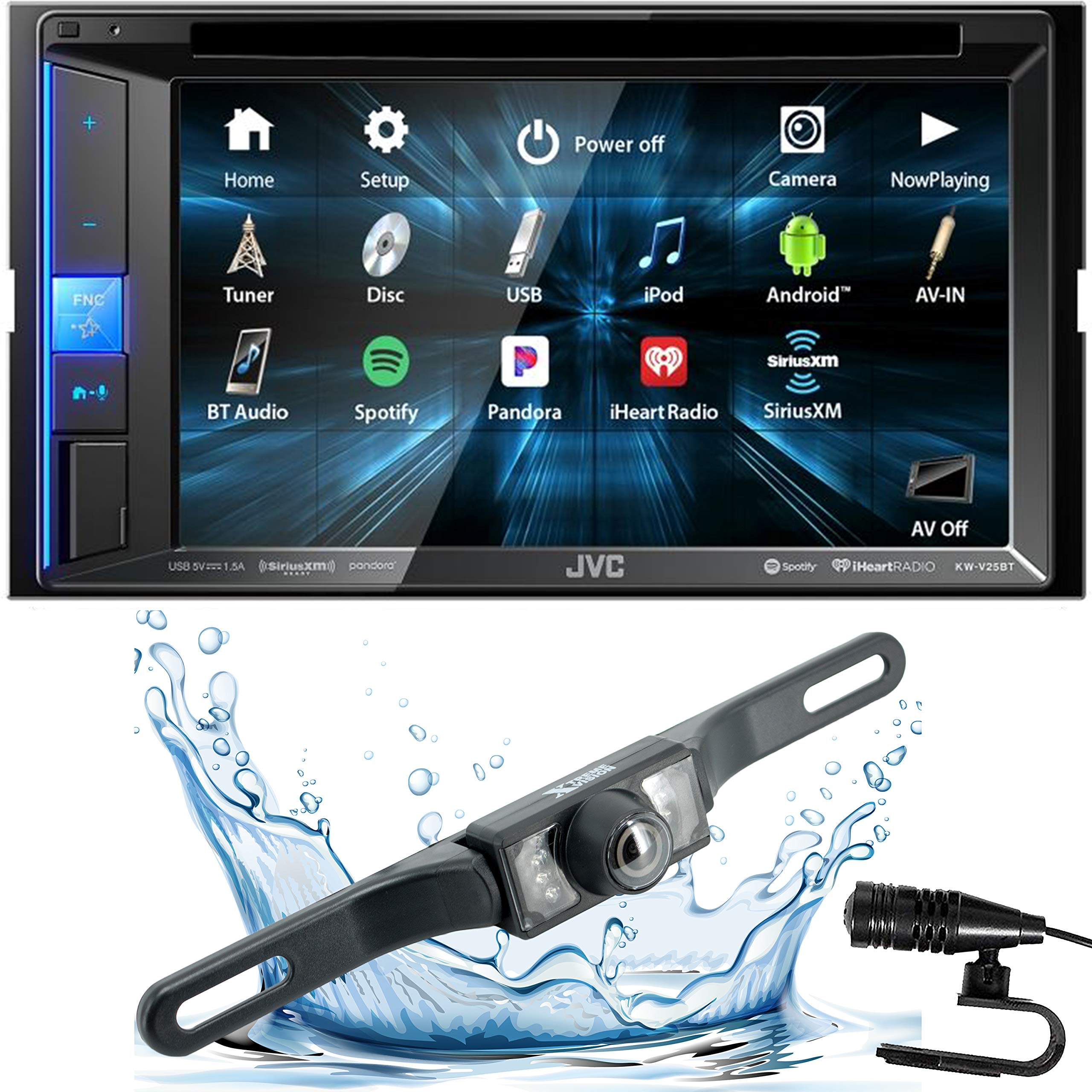 JVC KW-V25BT Double DIN in-Dash Bluetooth CD/DVD/AM/FM/Digital Media Car Stereo Receiver w/ 6.2'' Touchscreen, Pandora, Spotify and iHeartRadio Control + HD Backup Camera by JVC