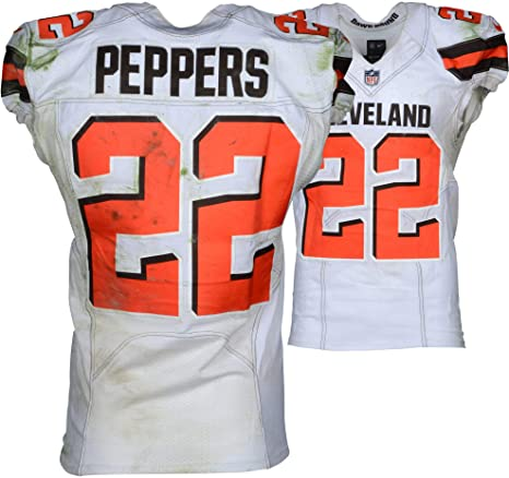 Jabrill Peppers Cleveland Browns Game Used 22 White Jersey