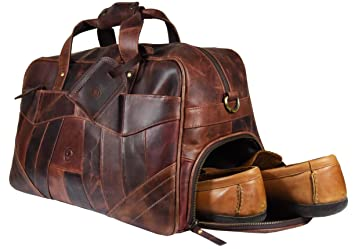 95e44283115b 19 Inch Leather Travel Duffle Bag For Men Overnight Weekend Luggage Carry  On Duffel Bag (Walnut)