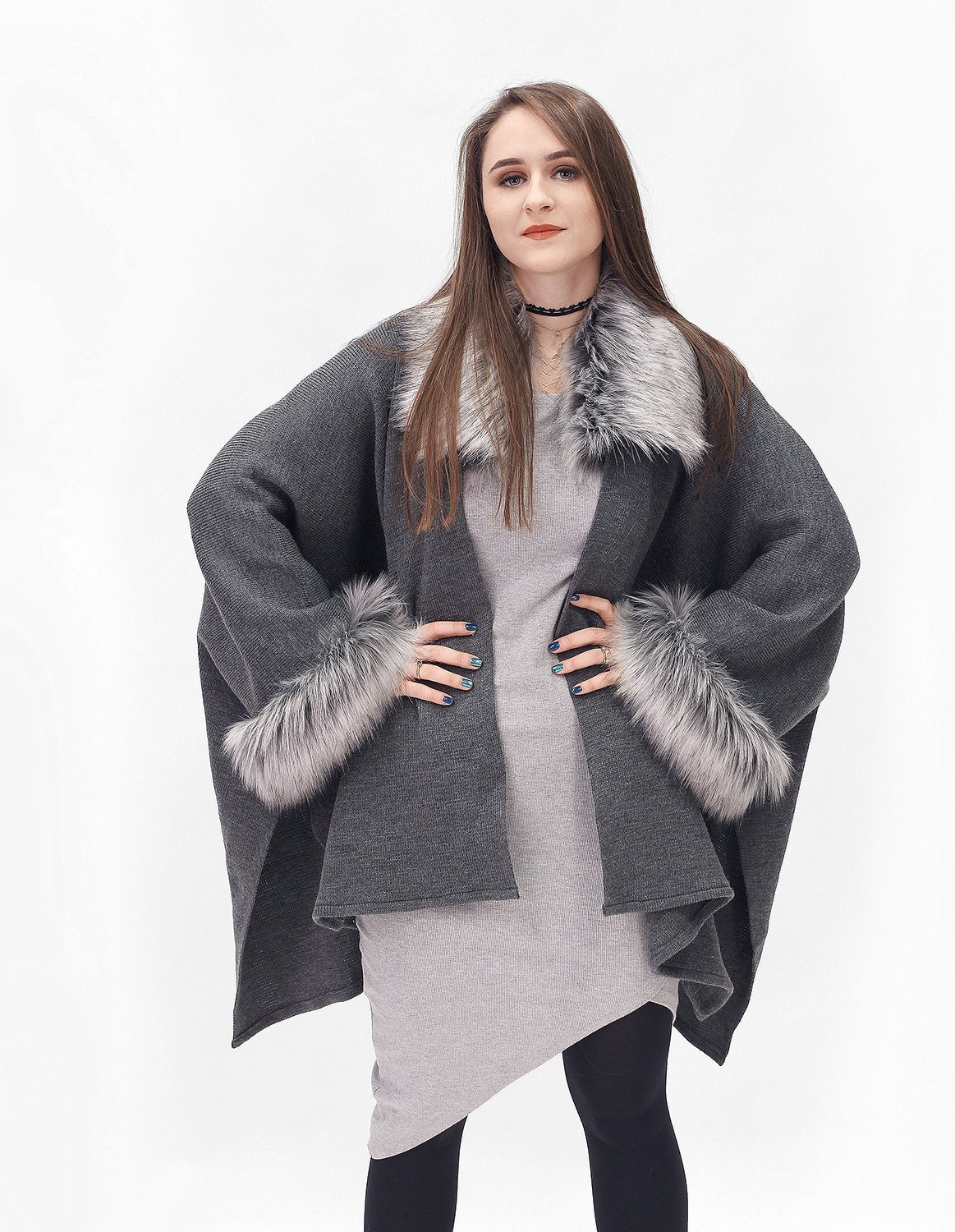 Elegant grey and silver brown half-woolen cardigan with high quality faux fur - made by Irena Fashion