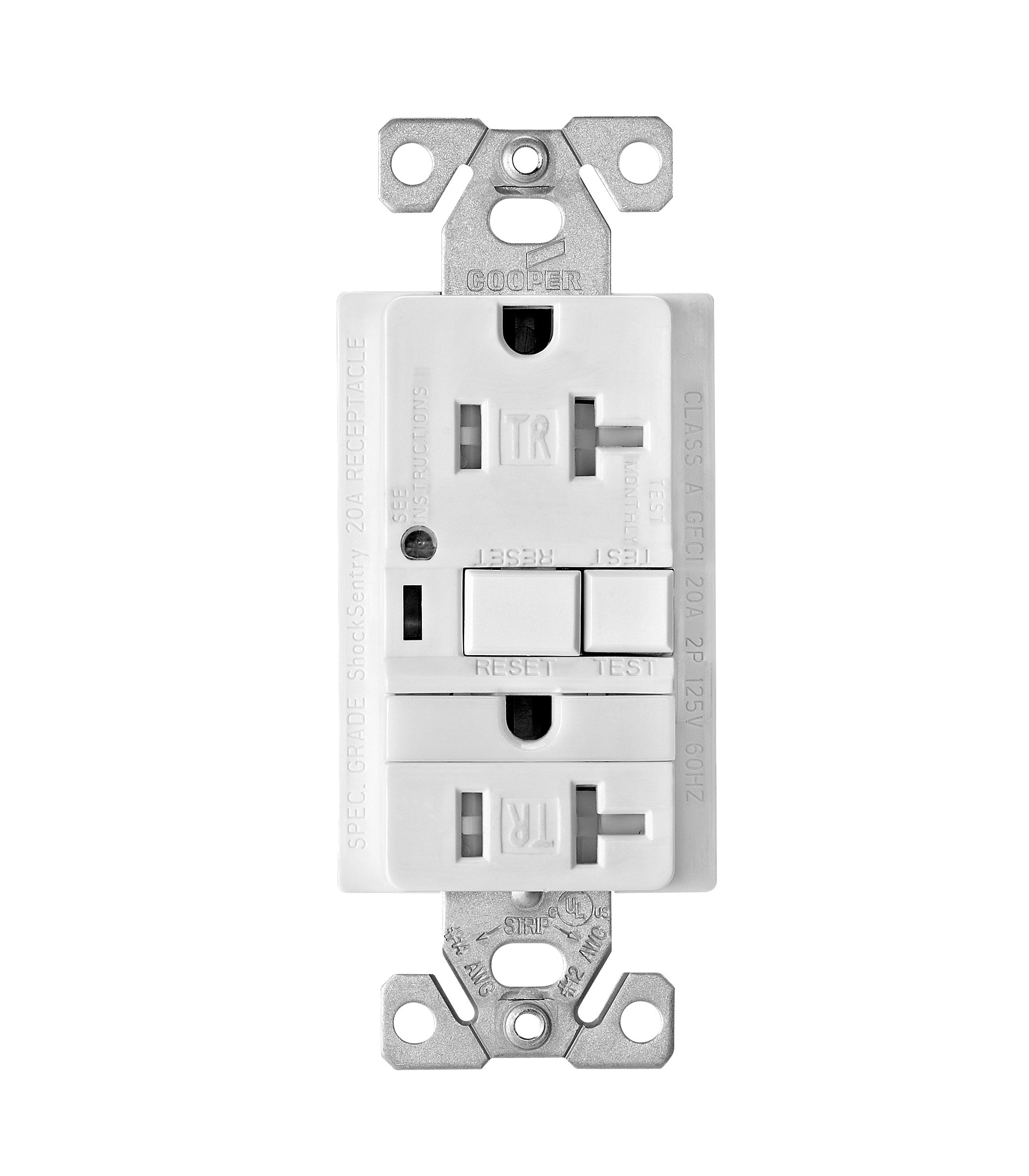 Eaton TRVGFNL20W Tamper Resistant 20-Amp Combination GFCI Receptacle with Nightlight, White Finish