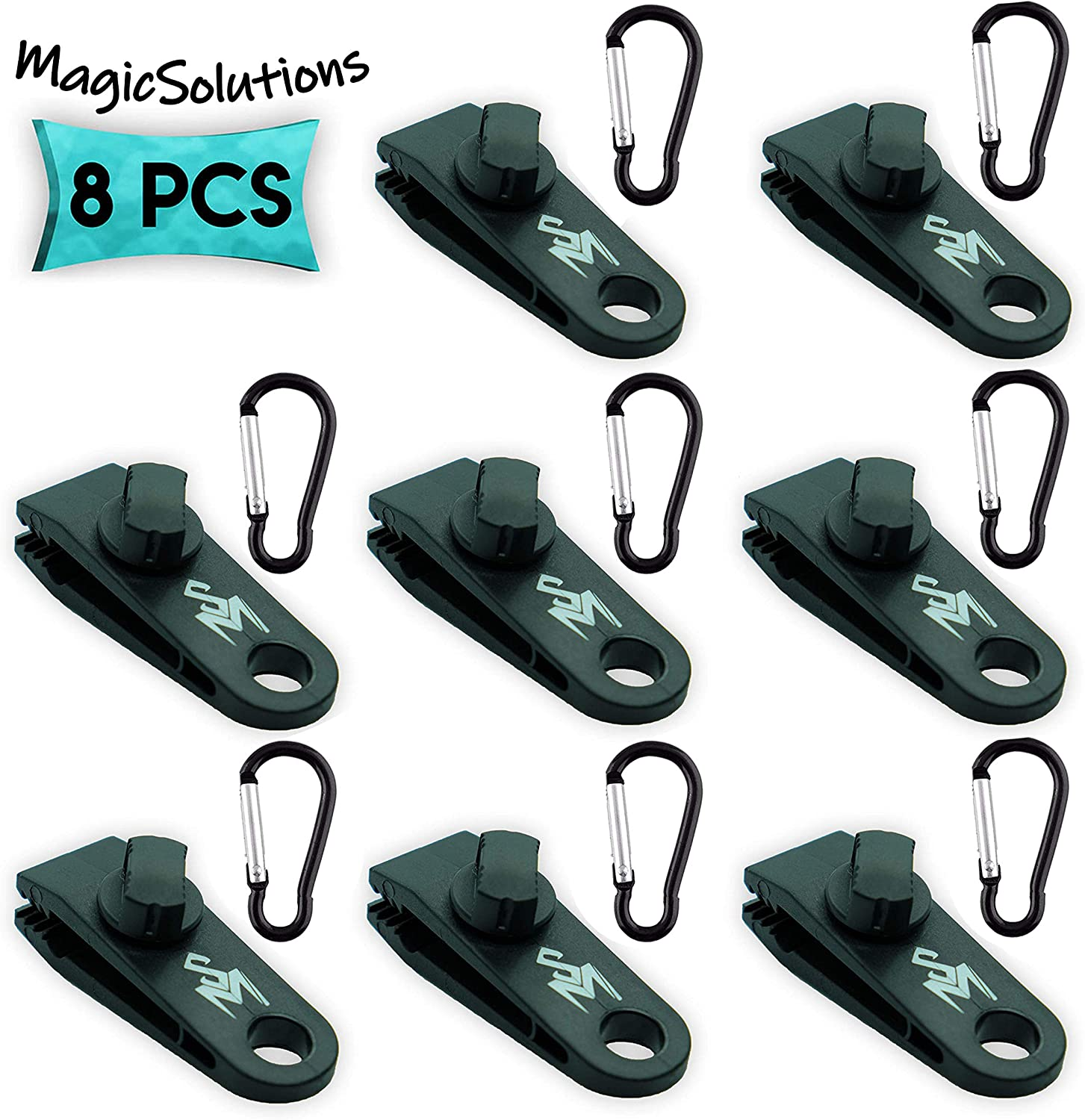 4 Packs Outdoor Multifunction Awning Tent Clips Hanging Hooks for Camping