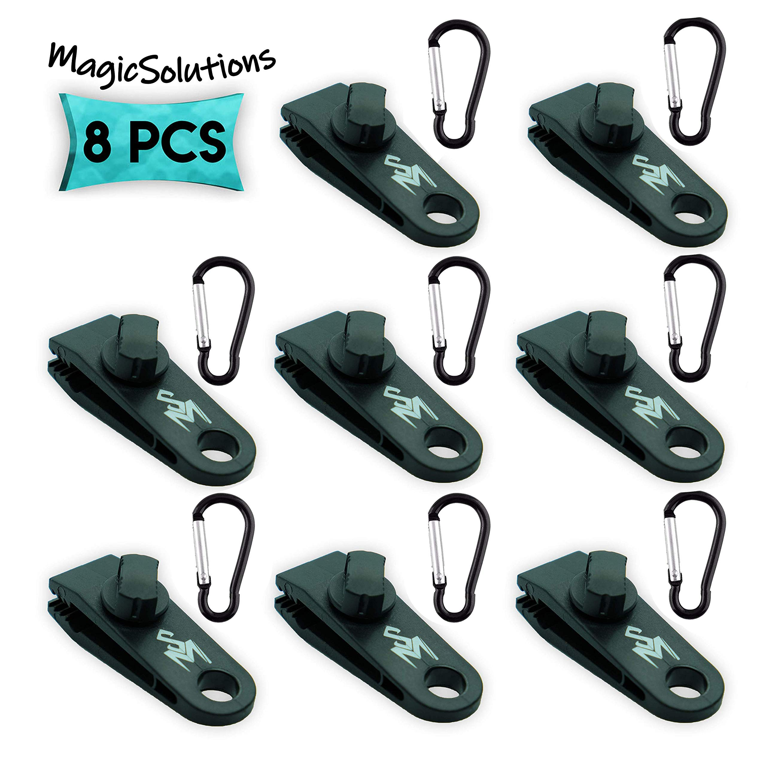 MagicSolutions (8 Pack) Tarp Clips with Carabiner | Great for Outdoors Camping Awning Tent | Canopies and Covers | Powerful Locking Jaws Material. by MagicSolutions
