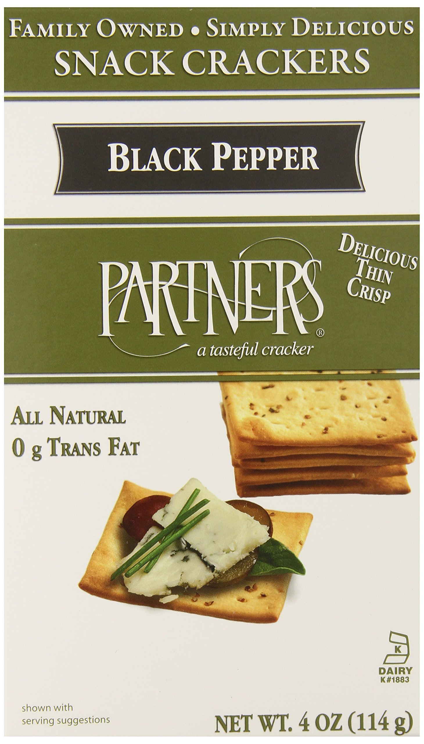 Partners All Natural Crackers, Cracked Black Pepper, 4-Ounce Boxes (Pack of 6)