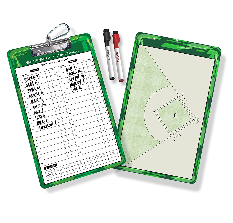 GoSports Baseball/Softball Dry Erase Coaches Board with 2 Dry Erase Pens CB-BASE-01