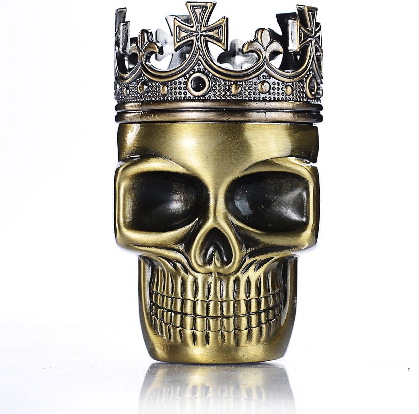 LIHAO Grinder Metálico Cráneo con Corona para Hierbas y Especias (Bronce Verde, 45mm)