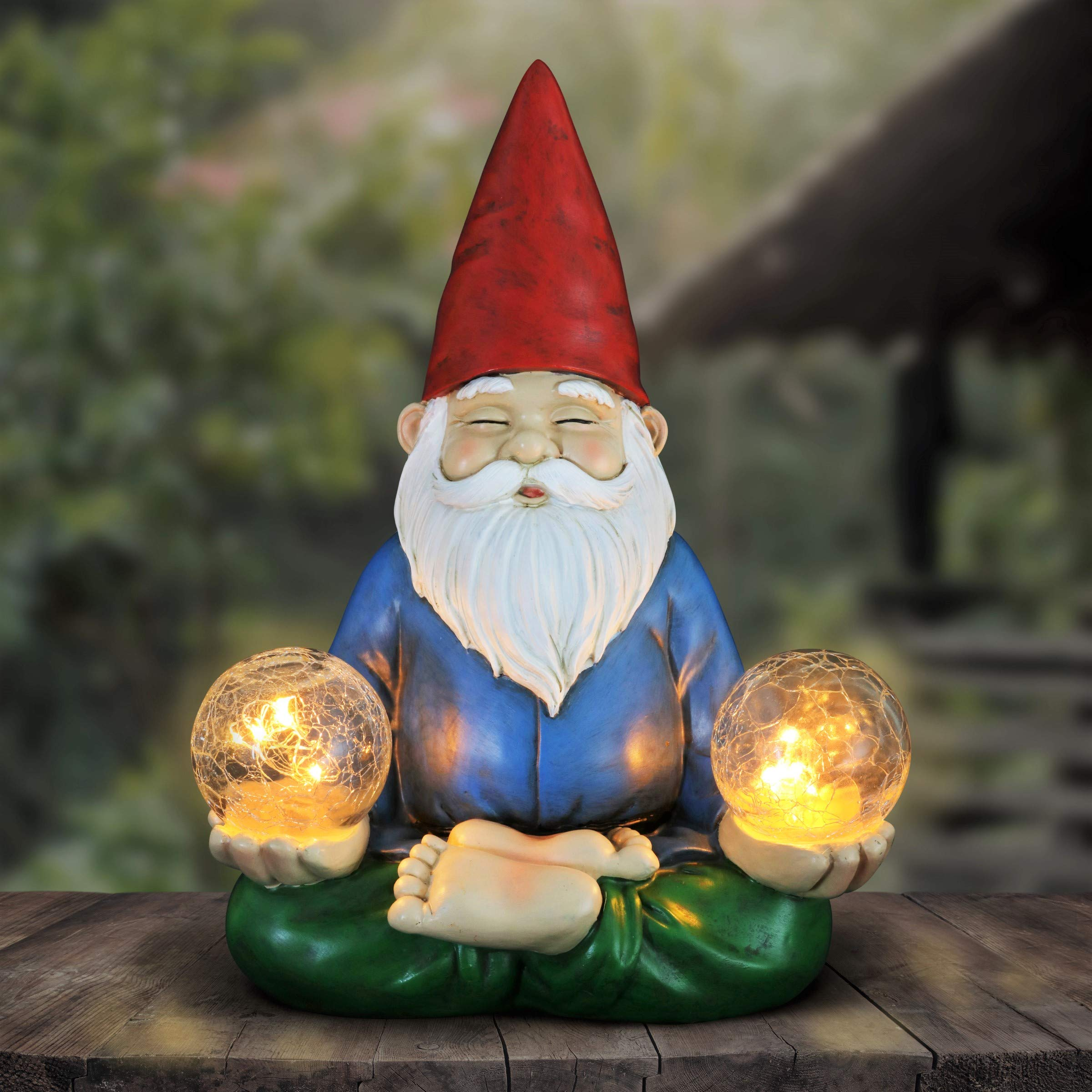 Exhart Solar Yoga Garden Gnome Holding 2 Glass Balls Garden Statue - Hand-Painted Outdoor Statue of a Gnome in Cross-Legged Meditation Pose w/Solar LED Lights Glass Orbs, 11'' Wide x 9'' Inches Tall