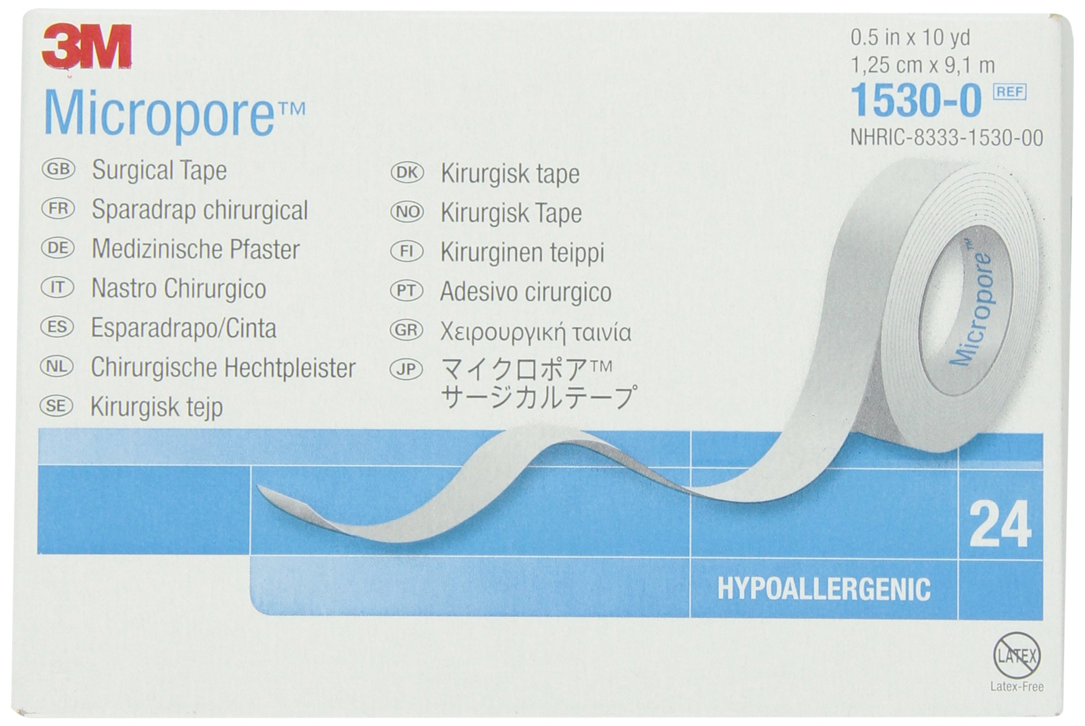 3M Micropore Tape 1530-0 (Box of 24 rolls)