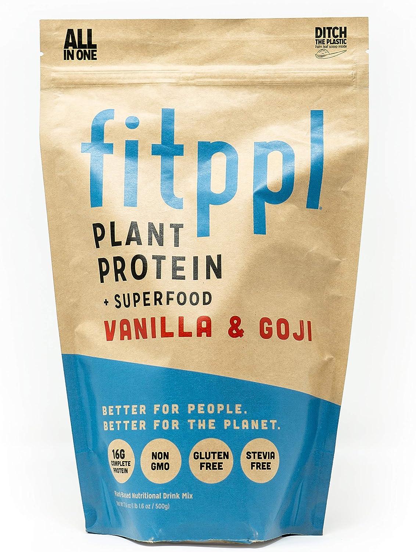fitppl Vanilla Goji Plant Protein Superfood Organic Ingredients, Stevia-Free, Gluten-Free, Vegan, Non-GMO, All Natural, Eco-Friendly Protein Powder – 20 Servings