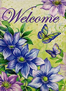 Selmad Decorative Vintage Flower Small Garden Flag Double Sided, Home Floral Burlap Welcome Quotes Purple Lily Butterfly House Yard Decoration, Seasonal Outdoor Décor Flag 12.5 x 18 Spring Summer