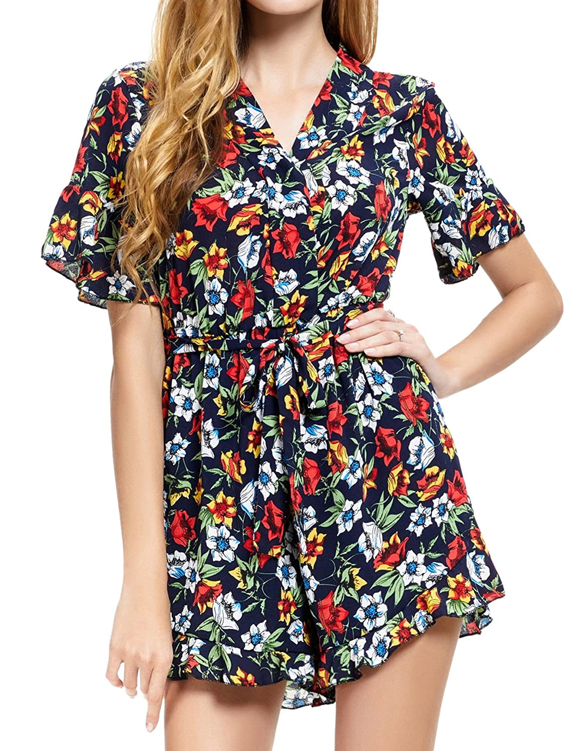 2169bd7f2036 Amazon.com  Abollria Casual Romper Jumpsuit Shorts for Women Short Sleeve V  Neck Floral Print Tie Waist Summer Beachwear  Clothing