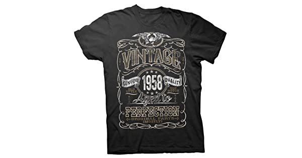 a9eae2752cd comVintage Aged Perfection 1958 - Distressed Print - 60th Birthday Gift T- Shirt - Black-001