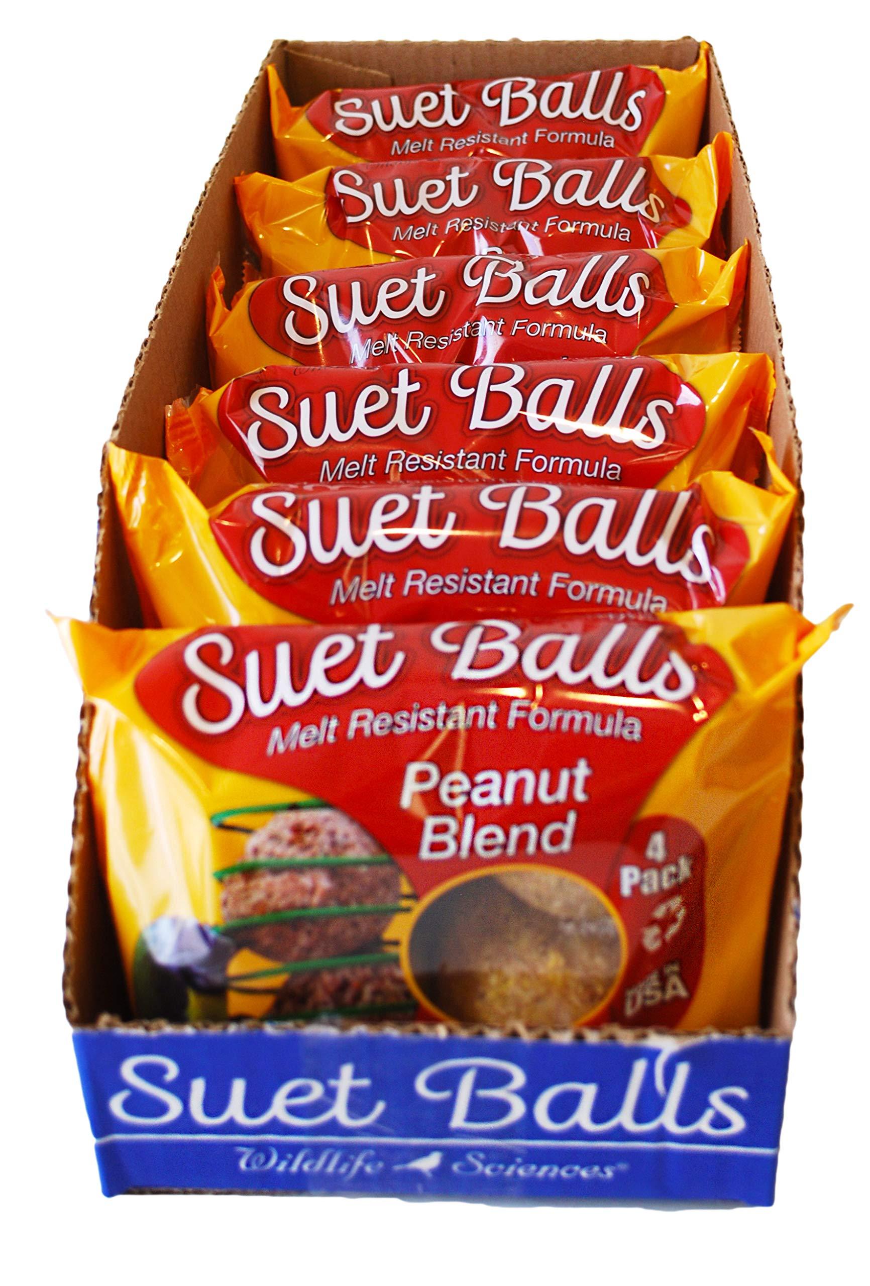Wildlife Sciences Suet Balls 24 Pack, 6 Individually Wrapped Packs of 4 Bird Suet Balls (Peanut Blend)