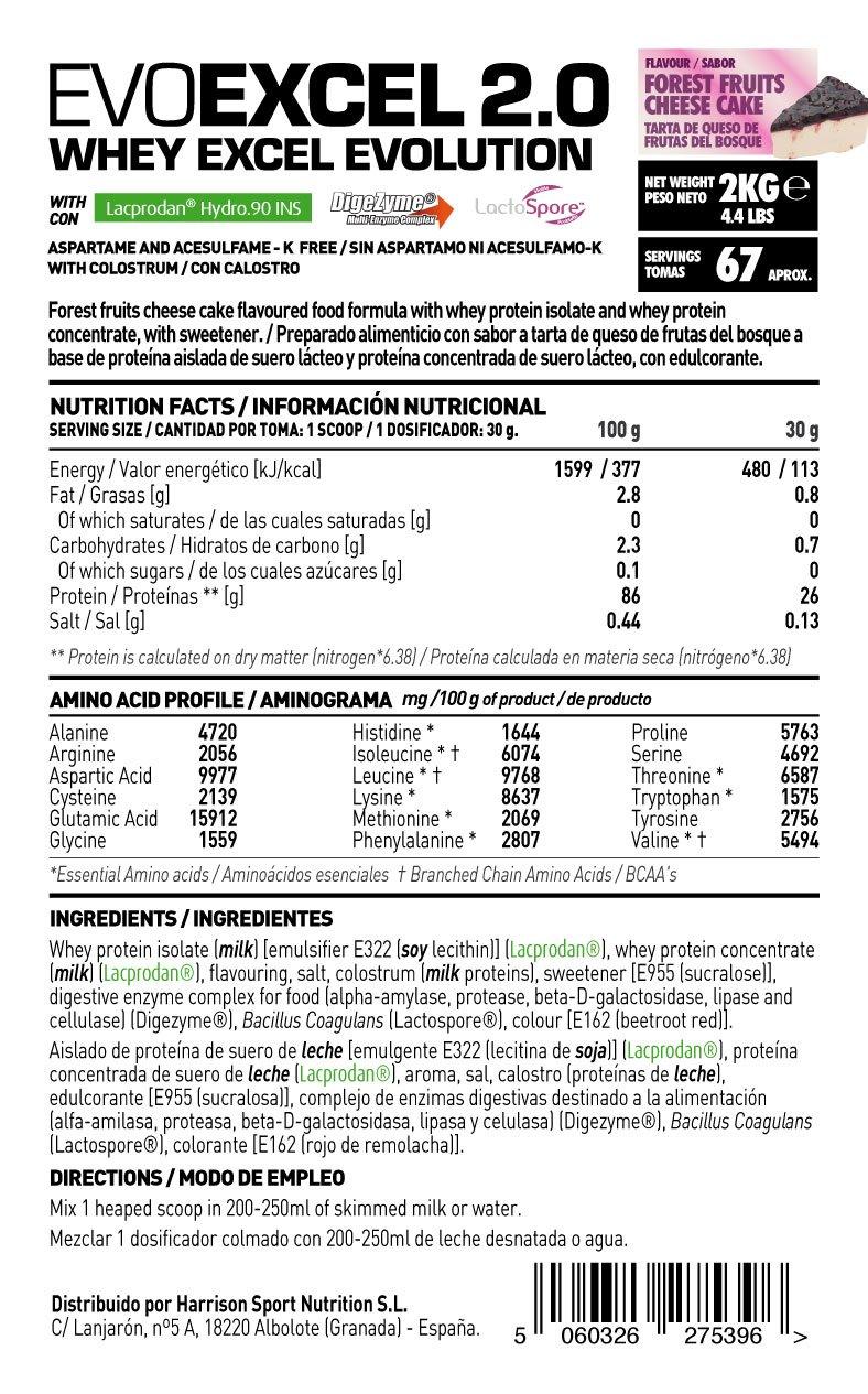 HSN Sports Evoexcel 2.0 Proteína de Suero de Leche, Sabor Tarta de Queso y Frutas del Bosque - 2000 gr: Amazon.es: Salud y cuidado personal
