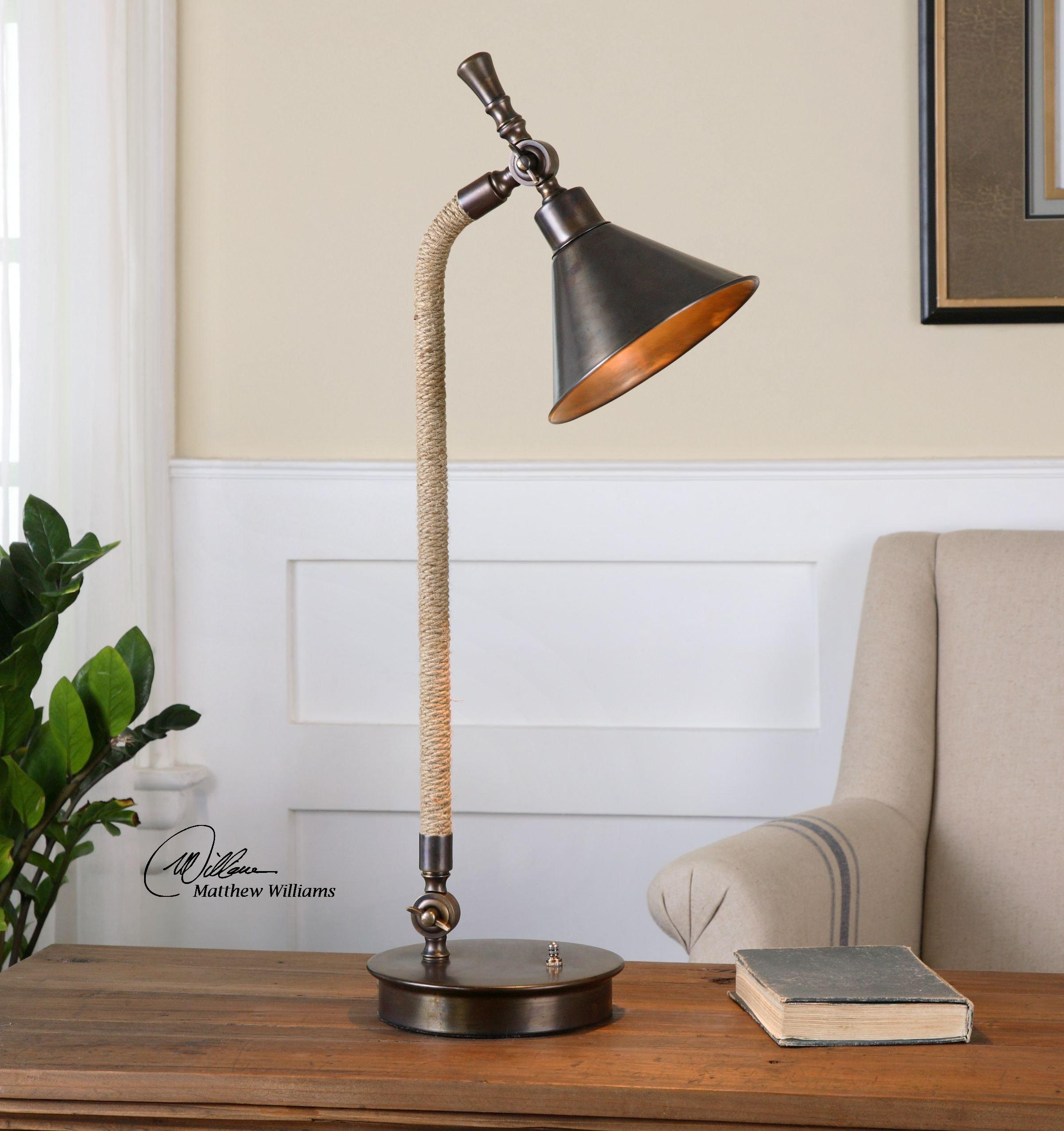 Retro Industrial Bronze Desk Task Lamp | Oxidized Metal Rope by Intelligent Design