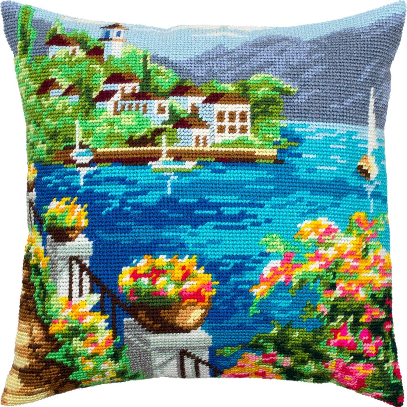 Needlepoint Kit Throw Pillow 16/×16 Inches European Quality Printed Tapestry Canvas Flower Pots