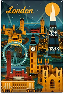 product image for Lantern Press London, England, Retro Skyline (12x18 Aluminum Wall Sign, Wall Decor Ready to Hang)
