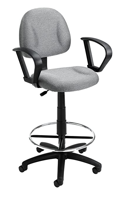 Boss Office Products B1617 GY Ergonomic Works Drafting Chair With Loop Arms  In Grey