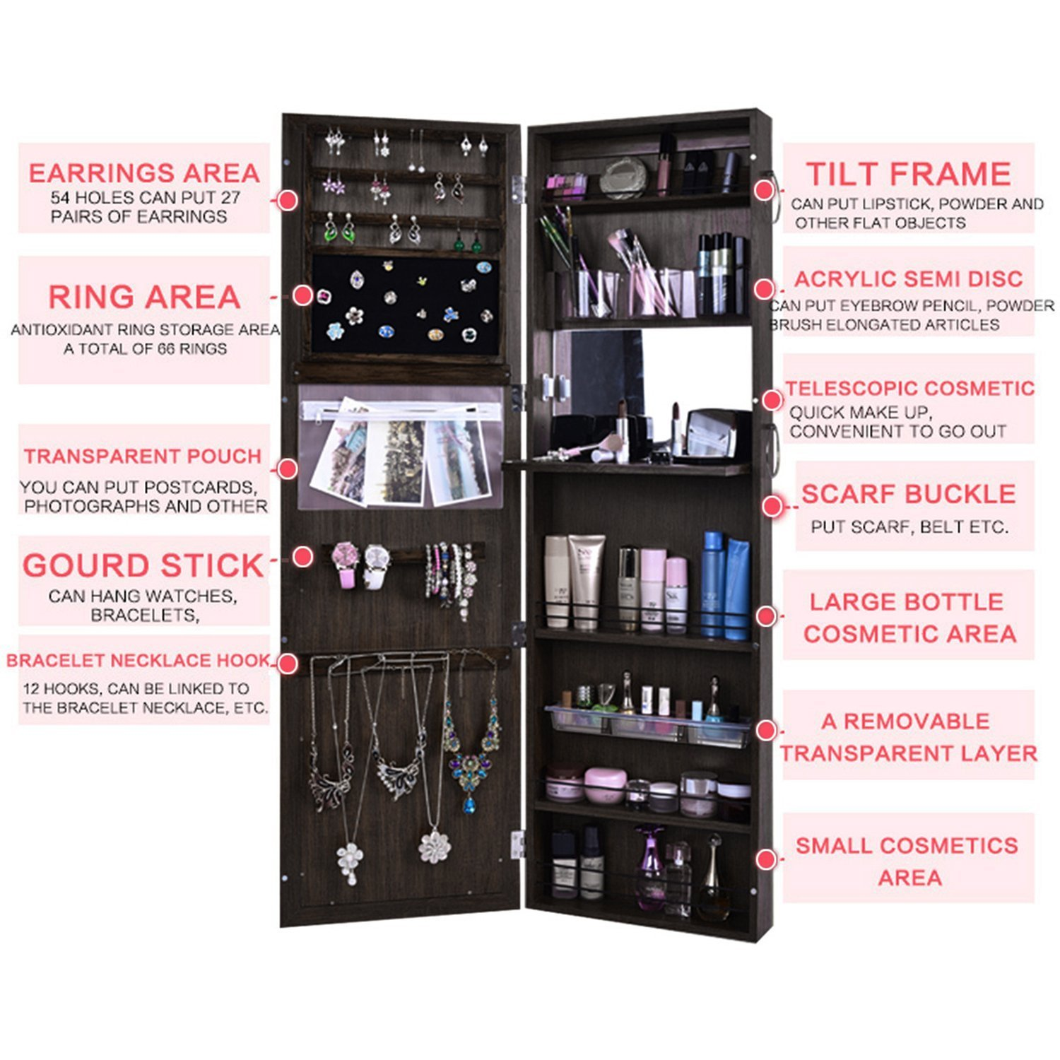 FDegage Jewelry Cabinet Lockable Wall Door Mounted Jewelry Armoire Storage Organizer with Full Length Mirror Valentine's Day Gift by FDegage (Image #6)