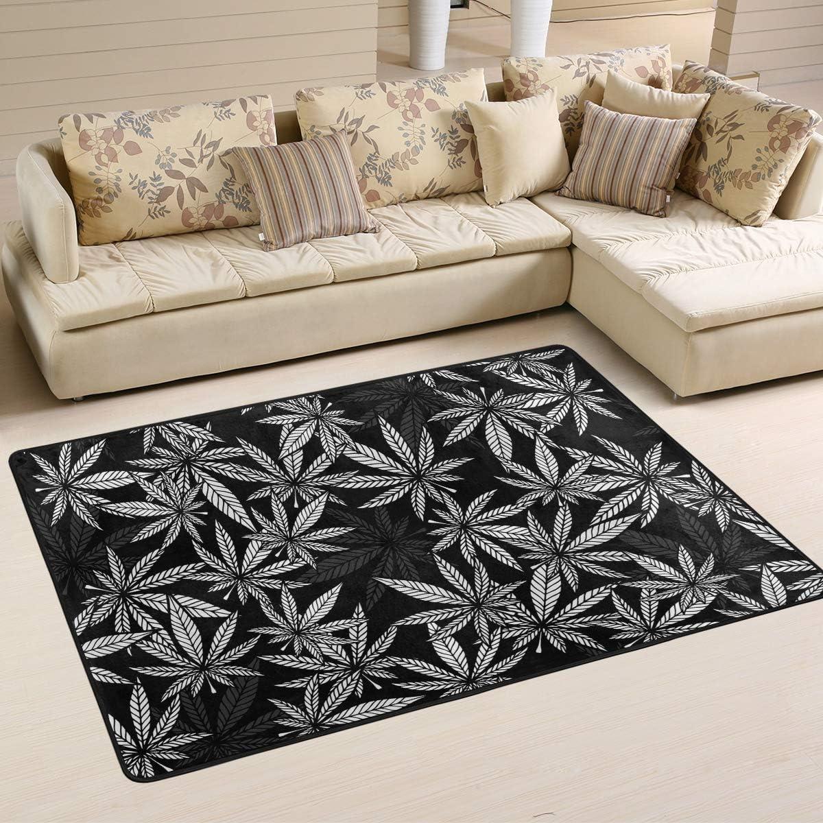 Emoya Alfombra de área blanca cannabis hoja de marihuana ultra suave antideslizante para decoración del hogar, dormitorio, dormitorio rectangular, 60 x 91 cm, tela, multicolor, 121x182cm (4' x 6'feet)