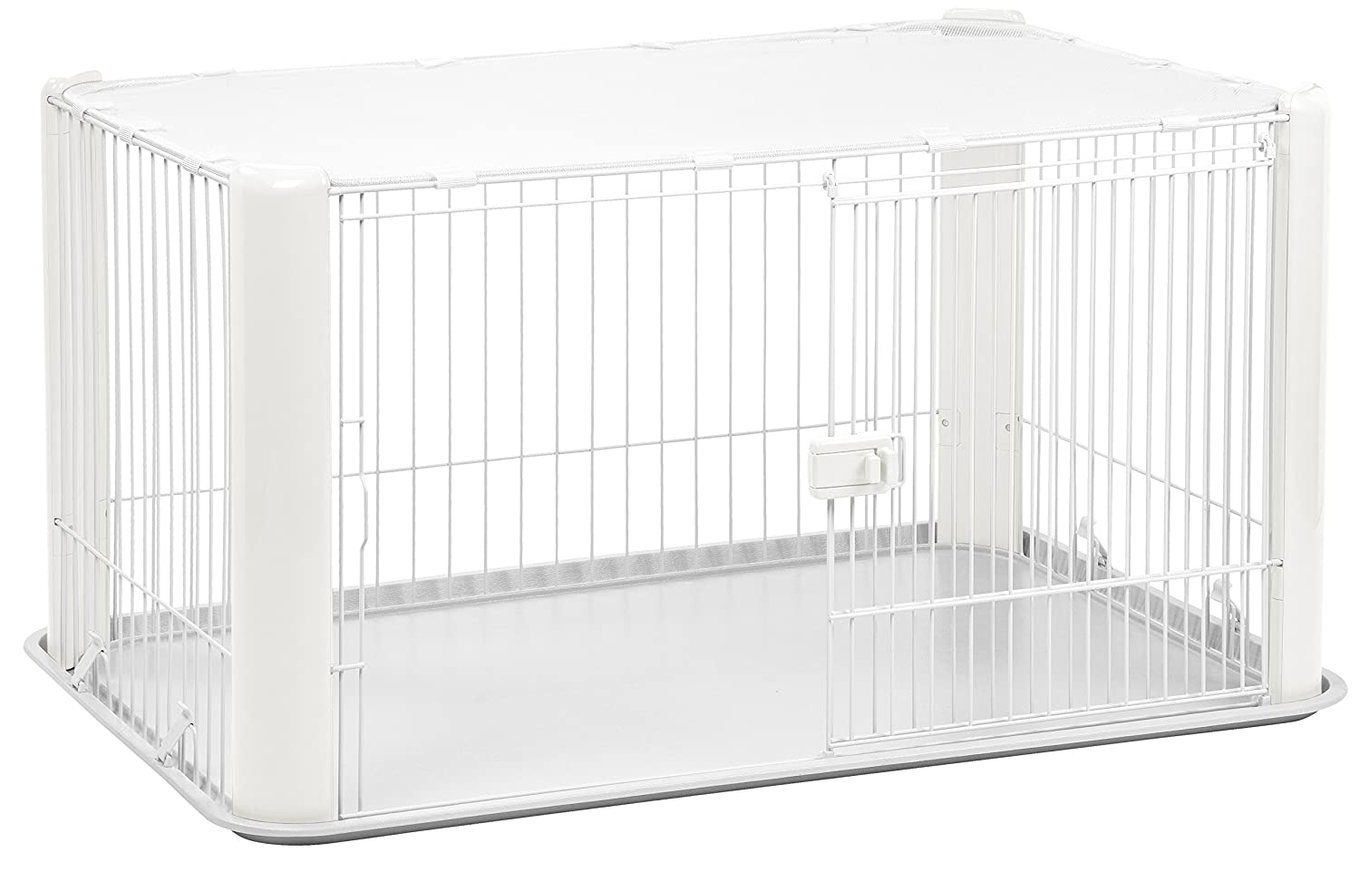 Wire Mesh Dog Crate | Amazon Com Iris Large Wire Dog Crate With Mesh Roof White Pet